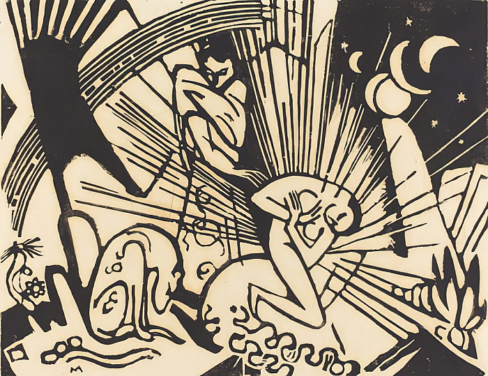 Franz Marc Reconciliation 1912 (woodcut_in_black_on_japan_paper)